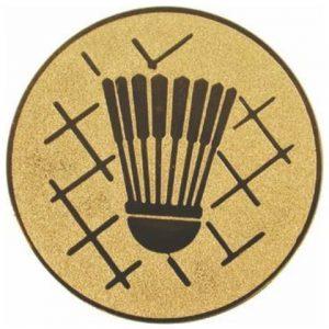 Emblém zlatý - bedminton, 50mm