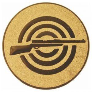 Emblém zlatý - streľba (dlhá zbraň), 50mm