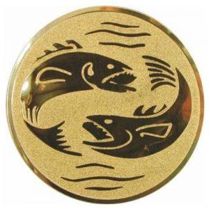 Emblém zlatý - ryby, 50mm