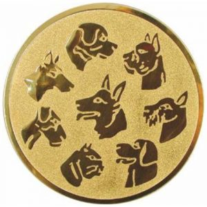 Emblém zlatý - psy, 50mm