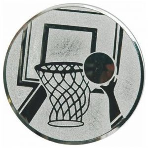 Emblém striebro - basketbal, 50mm