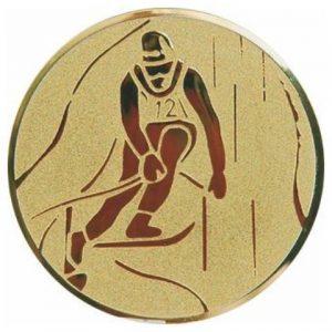 Emblém zlatý - lyžovanie, 50mm