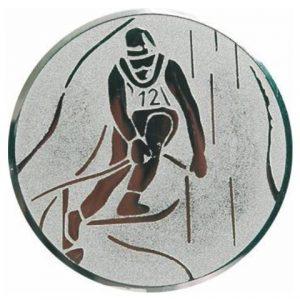 Emblém striebro - lyžovanie, 25mm