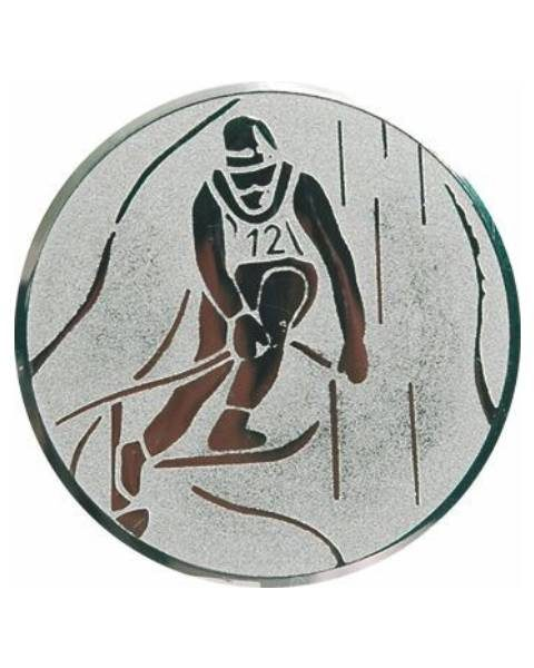 Emblém striebro - lyžovanie, 50mm