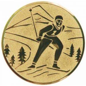 Emblém zlatý - beh na lyžiach, 25mm