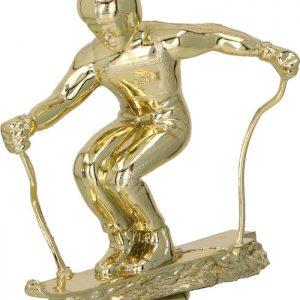 Figúrka plast. lyžovanie zjazd zlatá, výška 13cm