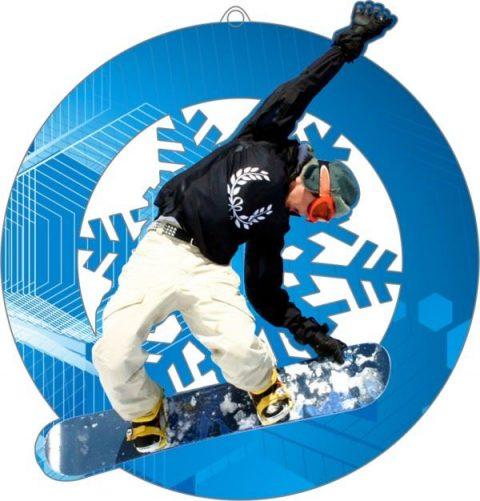 Plexi medaila - snowboard, 70mm