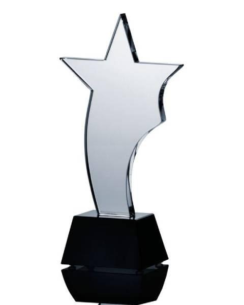 Sklenená trofej hviezda, 25.5cm + obal